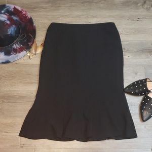 Ann Taylor Black Pencil Fishtail Skirt